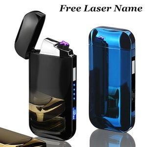 Doppio Arco Cigar Palse rilevamento tattile antivento al plasma Thunder Accendino Accendino USB elettronica ricaricabile Display Power Accendino