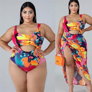 Plus Size femmes Maillots de bain Mode Colorlful Floral évider One Piece Maillots de bain sexy femmes Maillots de bain été