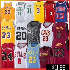 NCAA 23 LeBron James Davis Jersey 20 Manu Colina 21 Tim Duncan Ginóbili Lauri 8 Zach 3 Markkanen LaVine McCollum, jerseys del baloncesto