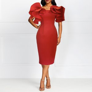 2020 Womens Designer Dress Summer Ruffled Grace Slim Buttock Wrapping Ladies Clothing Sexy Red Evening Dress
