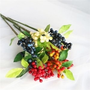 10 Pcs Lot Artificial Flower Decorative Berry Mini Short Cherry 5 Color Fake Plant Fruit Home Car Decor DIY Christmas Decoration