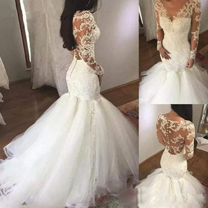 2021 Vintage Lace Wedding Dresses Sexy Mermaid Long Bridal Gowns With Gorgeous Lace Applique Beading V Neck LOng Sweep Train Plus Size