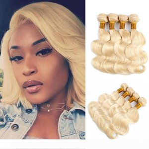#613 Blonde Human Hair Bundles Brazilian Peruvian Body Wave Short Bob Style 10-12 Inch 50g bundle 4 Bundles Remy Human Hair Extensions