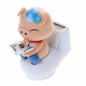 DREAMCAR Creative voiture solaire Ornements toilettes Nod de porc Décoration de voiture Poupée Cochon Porcelets Femme Année du bébé DDME #