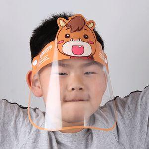 Bambino del fumetto trasparente Visiera anti nebbia riutilizzabile Viso maschera protettiva esterna spugna antipolvere Mask DDA128