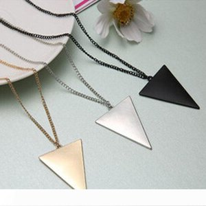 DHL Pendant Necklaces Punk Gold Silver Black Long Necklace Fashion Womens Triangle Pendants Chain Sweater Necklace Jewelry 3 Colors