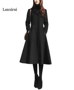 Lanxirui Frühlings-Herbst-Mode Woll Einfache dünne Maxi Langer Mantel des Winters weibliche Oberbekleidung Marineblau abrigos Mujer