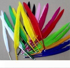 New Arrive 100pcs lot DIY Popular goose quill pen ballpoint pens For Wedding Party Gift pen