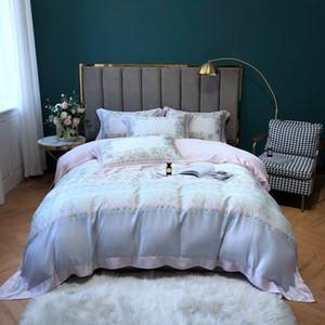 TUTUBIRD 100% da cama de bambu definir o estilo de cetim de seda floral Europeia macia roupa de cama capa de edredão roupas de cama king size rainha