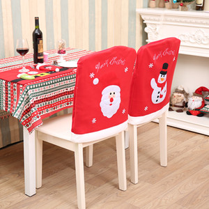 Christmas decoration Santa Claus Snowman chair sets embroidery New year chair decoration Festive party supplies