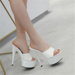 WADNASO été élégant Hauts talons de verre transparent Beaux Slipper Chaussures à fond lourd pantoufles de sandales Plus Size 34-43