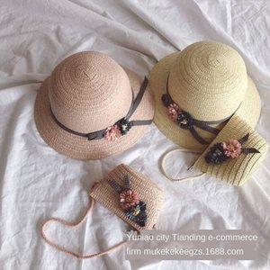 Hipster flower bow children's straw shoulder Straw hat messenger bag set cute girl's big edge sun hat inclined shoulder bag