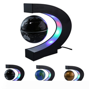 """US EU UK Plug 3"""" Home Office Decoration LED Tellurion Globe C Shape Floating Magnetic Levitation Globe Light World Map With LED Telluri"""