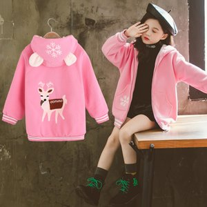 Girl's Jacket Children Coat Fashion Casual Cartoon Kids Hooded Zipper Coat 3t-12t Girl Outerwear