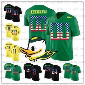 Individuelle NCAA Oregon Enten 10 Justin Herbert Marcus Mariota 4XL Kiko Alonso USA Flag Mode genähtes College Football Jersey Herren Jugend Kinder