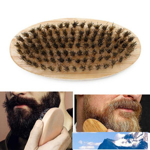 Boar Bristle Hair Beard Brush Hard Round Wood Handle Anti-static Boar Comb Hairdressing Tool For Men Beard Trim Customizable VT0669