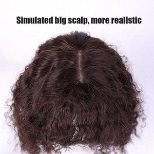 AILIADE Simulación del cabello humano Cierre Toupees rizado rizado Topper pelo Negro Marrón clip sintético Natural Bangs Mujeres Postizos BEr2 #
