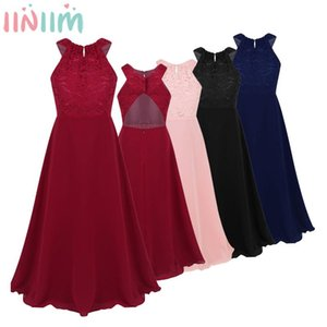 iiniim Kids Girls Vestido de festa Chiffon Dress Floral Lace Cutout Back Flower Girl Dress Princess Elegant Summer Party