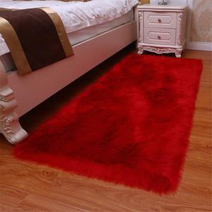 1pc artificielle laine Tapis Shaggy Fluffy Les tapis Salon Chambre GQ999 J6Nm #