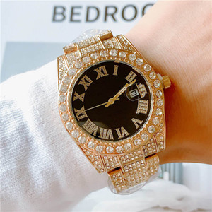 Полный Алмазного Iced Out часы Оптовых Мужчины мода Bling Часы из нержавеющей стали кварцевого Рима цифра Мужской Спорт наручных часов
