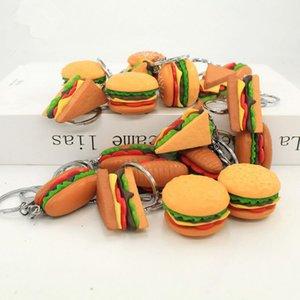 100pcs Mini bonito Simulação resina chaveiro hamburger sanduíche chaveiro chave do carro pingente de acessórios presentes jóias chaveiro pingente