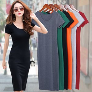Cotton T-shirt Dresses Summer Women Long T Shirt Dress Female Bodycon Dress Tank Female Lady Black Short Sleeve Vestido Sexy MD1 CX200708