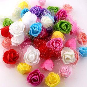 About 50Pcs 4cm Single Color Rose Foam With Yarn Mini Artificial Silk Flowers Bouquet Wedding Decoration Wreaths