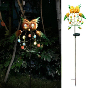Landscape Outdoor Garden Yard Owl Shape Courtyard Pathway Lawn LED Solar Lights Easy Install Patio Wrought Iron IP55 Waterproof 10121