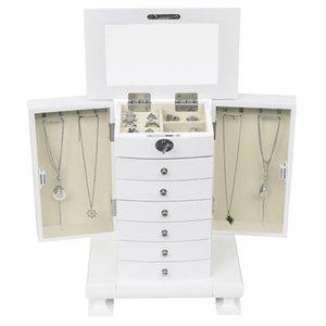 penteadeira caixa de armazenamento caixa de jóias de madeira estilo handmade jóias gabinete europeu Vintage, madeira 7 camadas, com 6 gavetas, wh