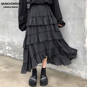 Qiukichonson Midi saias longas Womens Maxi Skirt Goth Lolita Verão cintura alta assimétrico Alta Baixa Ruches Ruffle Saias rok