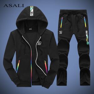 ASALI Sport Manntrainingsnazug Hot Sale Zwei Stücke Set Männliche Art und Weise mit Kapuze Herren Set Herbst Hoodies + Pants Man Sweat Suit Outwear