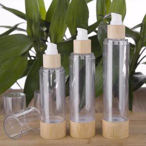 1PC bambù bottiglia di vuoto pompa airless lusso Portable Cosmetic Trattamento Lozione Viaggi bottiglia vuota contenitore 20ml / 30ml / 50 / 100ml