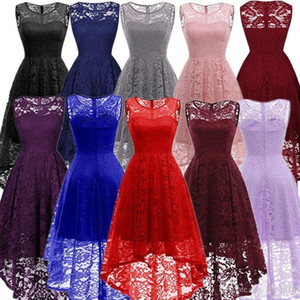 2019 Women's Sheer Straps Sleeveless Hi-lo Lace Bridesmaid Wedding Party Dress Empire Pleated Junior Homecoming Short Gown Cocktail Dre