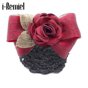 Clips de raso flor de tul Hairgrips Bowknot Bun redecilla de la red del arco del pelo del ganchillo i-Remiel floral del cordón del pelo de la cubierta del Pin de señora Women