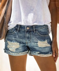 Blue Slim Sexy Ladies Short Jeans Casual Straight Fashion Solid Color Femme Clothes Womens Jean Shorts Holes