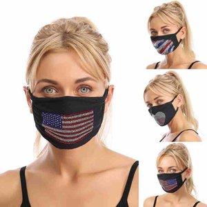 Cara de la bandera americana Máscara Moda a prueba de polvo reutilizable lavable Máscara facial Diamond USA Banderas Máscaras Máscaras Bling Rhinestone Cara CYZ2563 60Pcs