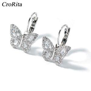 CroRita Exquisite Crystal Butterfly Earrings Women Pendant Fashion Crystal Dangle Ear Drop Jewelry Gifts