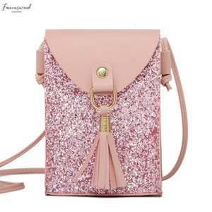 Colorful Sequins Phone Bag Women Pu Leather Mini Shoulder Bag With Tassel Small Crossbody Bag Female