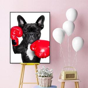 Del cucciolo del fumetto con guantoni da boxe poster Decor Pittura Stampa su tela Wall Art per Living Room Home Decor (nessuna pagina)