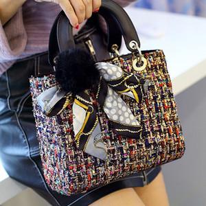 Barnd Shimmer Glitter Knitting Lady Bag Cannage Crochet Handtasche Weibliche Pelz-Kaschmir-Ball Tasche tragbare Schal Toffee Taschen VRB44550_N0