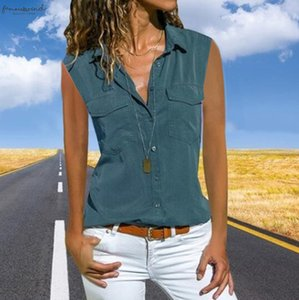 Women Casual Solid Sleeveless Turn Down Collar Pockets Button Front Shirt Tops Womens Tops Blouses Lady Tops Tee Shirt Femme