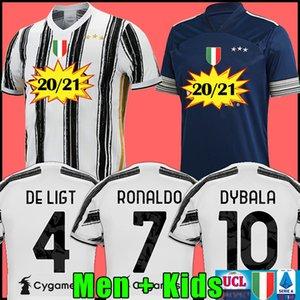 Hayranları Oyuncu sürümü Juventus futbol forması futbol forması 2020 2021 RONALDO DE LIGT 20 21 üniforma RAMSEY DYBALA JUVE şampiyonlar ligi erkekler + çocuklar kiti