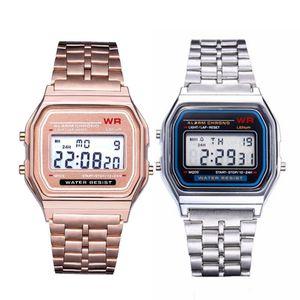 New Stylish Women\x27s Watches Full Steel Watchband Analog Electronic LED Digital Clock Ladies WristWatch Relogio Feminino 2020