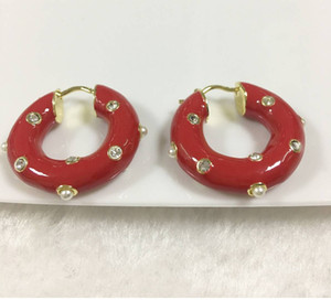 Women Charming Earrings Yellow Gold Plated CZ Red Hoops Earrings for Girls Women for Party Wedding Nice Gift for Friend