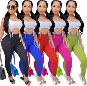 Women Rompers Sexy Bandage Two-color Cutout Stitching Jumpsuit Fashion Casual Printed Sleeveless Long Shorts Tight Playsuit Pants Ty759