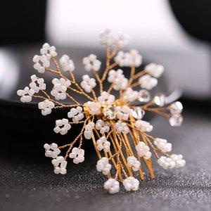 Women Flower Leaf Rhinestones Pearl Handmade Hair Comb Bridal Crystal Headpiece Bridesmaids Wedding Hair Jewelry Accessories JL