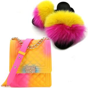 Venta al por mayor directo de fábrica de las mujeres de piel de zorro de pelo y piel monedero Diapositivas bolso de la piel y sandalias Conjunto