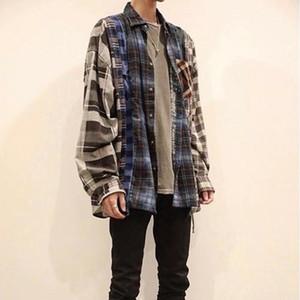 20SS 하이 스트리트 패치 워크 대비 색 셔츠 긴 소매 빈티지 격자 셔츠 패션 커플 여성 남성 격자 무늬 셔츠 HFXHTX321