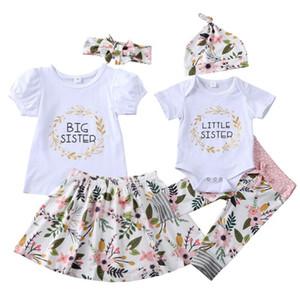 Desgaste do bebê Roupa Fashion Girl Big Sister Headband saia 3 pcs muito Litte Irmã Hat Romper Calças Summer Flower Imprimir manga curta