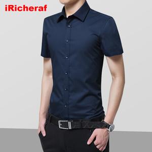 iRicheraf 2020 Summer Non-Ironing Mens Dress Shirts Short Sleeve Solid Formal Business Men Shirt White Black Plus Size 7XL 8xl